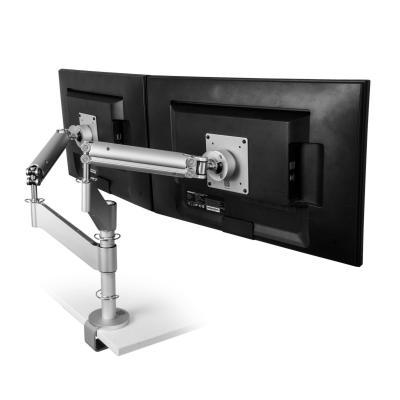 R-go tools monitorarm: Caparo 3 Twin Monitorarm, mechanische Veer, 2-9 kg, zilver