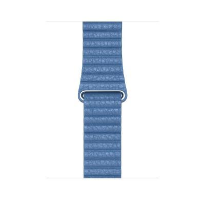 Apple 44mm Cornflower Leather Loop - Medium horloge-band - Blauw