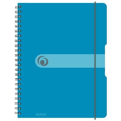 Herlitz spiral pad, A4, 80 sheets, blue, 80 g Schrijfblok - Blauw, Transparant