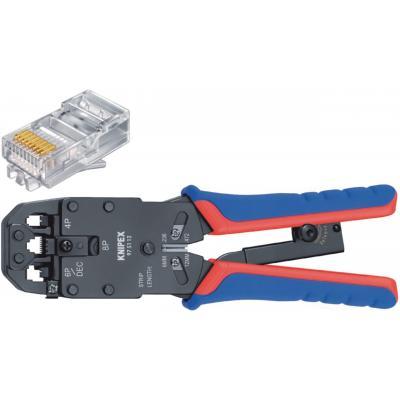 Knipex tang: Krimptang voor Western-stekkers, RJ10/11/12/45, 7.65/9.65/11.68 mm - Zwart, Blauw, Rood