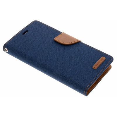 Canvas Diary Booktype Samsung Galaxy A8 (2018) - Blauw / Blue Mobile phone case