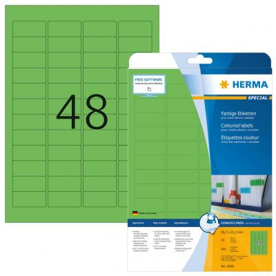 Herma etiket: Etiketten groen 45.7x21.2 A4 960 st.
