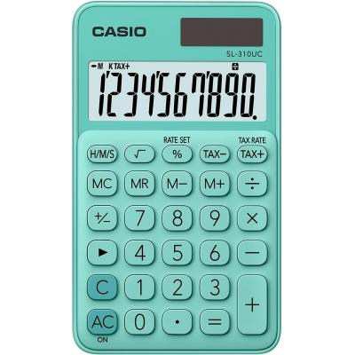Casio 10 digits, Solar + Battery, Tax/Time calculation, 50 g Calculator - Groen