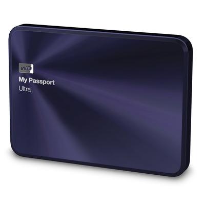 Western digital externe harde schijf: My Passport Ultra Metal Edition, 1TB - Zwart, Blauw