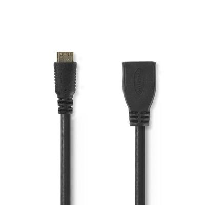 Nedis High Speed HDMI™-kabel met Ethernet, HDMI™-mini-connector - HDMI™ female, 0,2 m, Zwart HDMI kabel