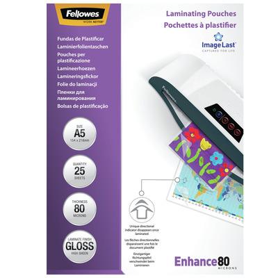 Fellowes ImageLast 80 micron lamineerhoes glanzend A5-25pk Laminatorhoes - Transparant