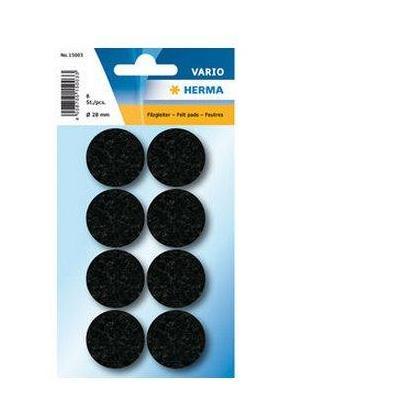 Herma bureaulegger: Protectiv feltpads black Ø 28 mm - Zwart