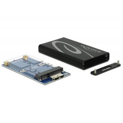 Delock behuizing: External Enclosure mSATA SSD > USB 3.0 - Zwart, Grijs