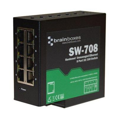 Brainboxes 8 x 10/100 Fast Ethernet, Din rail mounted, 5V - 30V DC, Black Switch - Zwart