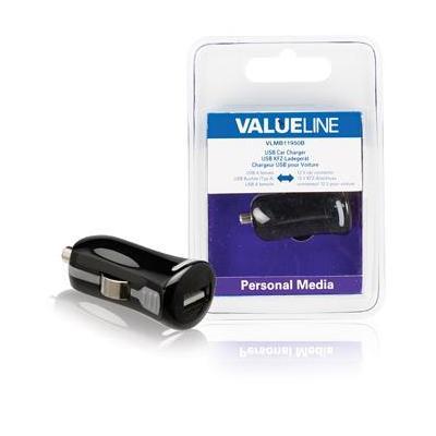 Valueline USB-autolader, USB A female - 12V-autoaansluiting, zwart Oplader