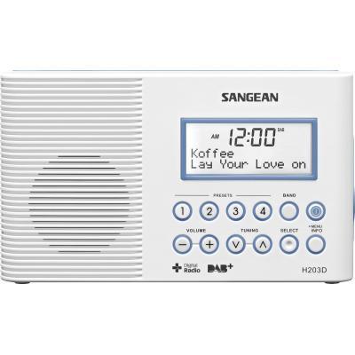 Sangean radio: 87.5 - 108MHz, 0.45W, FM/DAB - Wit
