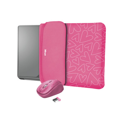 """Trust Yvo Reversible Sleeve for 15.6"""" Laptops with wireless mouse - pink hearts Laptoptas"""