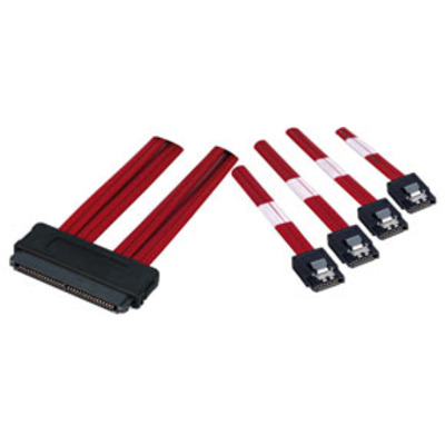 Lindy Internal SAS to 4 x SATA II Multilane Cable, 1m Kabel adapter - Rood