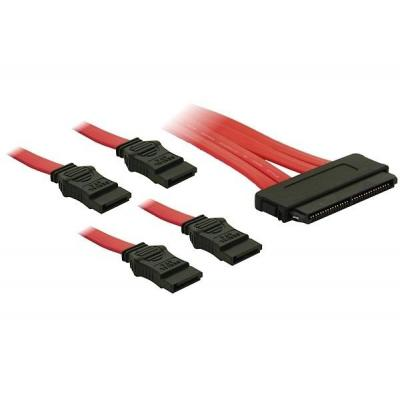 DeLOCK Cable SAS 32pin to 4x SATA SCSI kabel - Rood