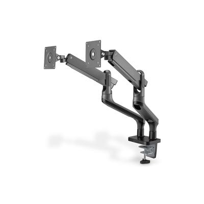 "Digitus Dual Gas Spring Monitor Clamp Mount 17-32"",2x9 kg max, space grey Monitorarm - Grijs"