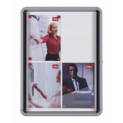 Nobo prikbord: Binnenvitrine Draaideur Magnetische Binnenkant 8xA4 - Zilver, Wit