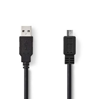 Nedis 35x225x80mm, 69g, 1m, PVC USB kabel - Zwart
