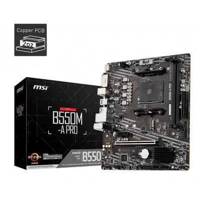 MSI Socket AM4, AMD B550 Chipset, 2 x DDR4-SDRAM up to 64GB, LAN, 1 x RJ-45, 6 x SATA III, 1 x M.2(M), UEFI AMI, .....