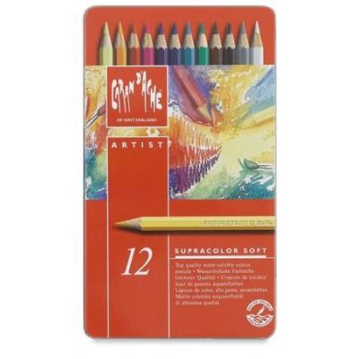 Caran d-ache potlood: SUPRACOLOR Soft Aquarelle 12 - Multi kleuren, Rood