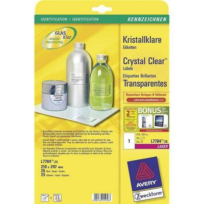 Avery Crystal Clearten, Laser, Transparant, 25pcs. Etiket