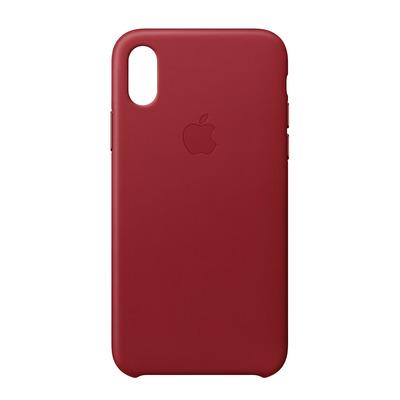 Apple mobile phone case: Leren hoesje voor iPhone X - (PRODUCT)RED - Rood