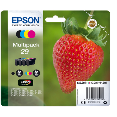 Epson Strawberry Multipack 4-colours 29 Claria Home Ink Inktcartridge - Zwart, Cyaan, Magenta, Geel