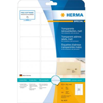 Herma adreslabel: Address labels, A4, 63.5x38.1 mm, 525 pcs. - Transparant