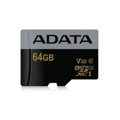 Adata flashgeheugen: MicroSDXC, 64 Gb, 95 MB/s, UHS-I U3, 110x150x1mm, 25g, Black/Grey - Zwart, Grijs