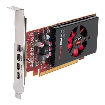 Dell videokaart: AMD FirePro W4100, 2GB GDDR5, 128-bit, DirectX 11.2, OpenGL 4.4 - Zwart, Rood