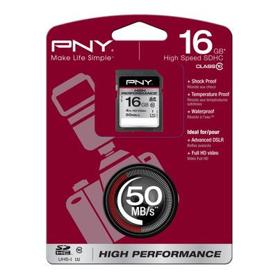 PNY 16GB SDHC Flashgeheugen - Zwart