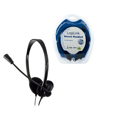 LogiLink Stereo Earphones with Microphone Headset - Zwart