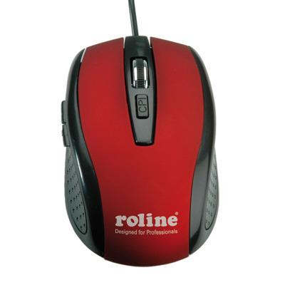 ROLINE 18.01.1082 Computermuis - Zwart, Rood