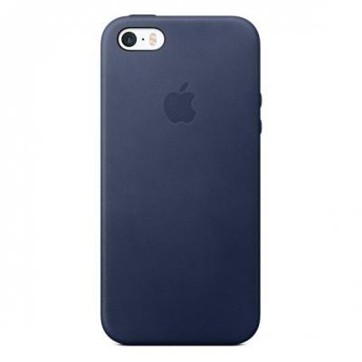 Apple mobile phone case: Leren hoesje voor iPhone SE - Middernachtblauw