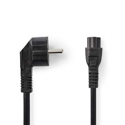 Nedis Schuko plug, angled, IEC-320-C5, 3.0 m, black Electriciteitssnoer - Zwart