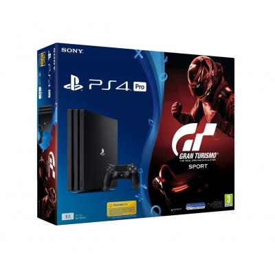 Sony spelcomputer: PlayStation 4, Console Pro (Black) + 1 TB + GT Sport  PS4