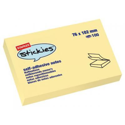 Staples zelfklevend notitiepapier: Notitieblok SPLS 76x102mm gl /pk12