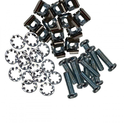 Lanview Cage nuts for 19'' rack, set of 50 x M6X20 screws + washers and nuts Rack toebehoren - Zwart