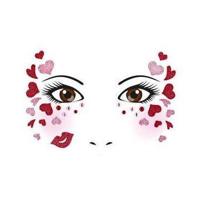 Herma sticker: Face Art Sticker Love - Roze, Rood