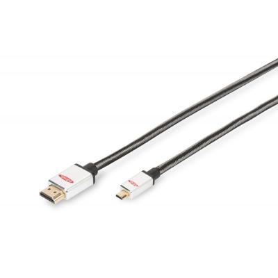 Ednet Micro-HDMI - HDMI, AWG 30, 2 m HDMI kabel - Zwart, Zilver