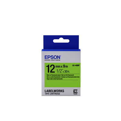 Epson Fluorescent Tape - LK-4GBF Fluor Blk/Green 12/9 Labelprinter tape