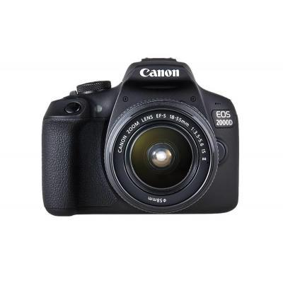 Canon EOS 2000D + EF-S 18-55mm f/3.5-5.6 IS II + EF 75-300mm f/4-5.6 III Digitale camera - Zwart