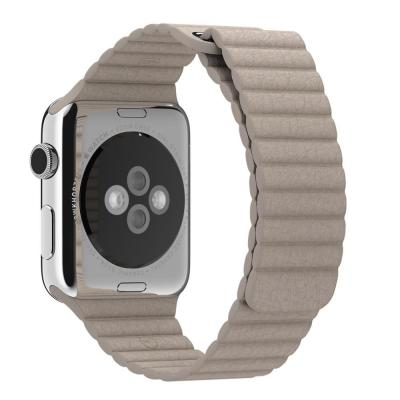 Apple horloge-band: 42mm Stone Leather Loop, Large - Grijs