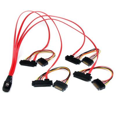 StarTech.com 50cm Interne Serial Attached SCSI Mini SAS SFF8087 naar 4x SFF8482 Kabel - Zwart,Rood