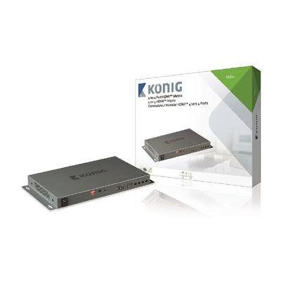 König video switch: HDMI Matrix 4x HDMI-Ingang - 4x HDMI-Uitgang - Grijs