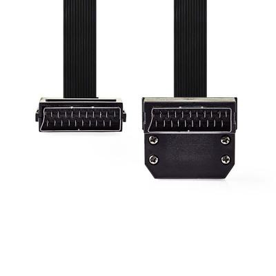 Nedis SCART Platte Kabel, SCART Male - SCART Male 90° Gehoekt, 2,0 m, Zwart