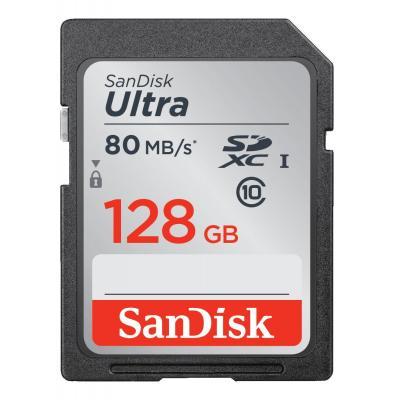 Sandisk flashgeheugen: Ultra SDXC 128GB - Zwart, Grijs