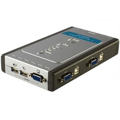 D-link KVM switch: DKVM-4U - 4x USB 2.0, 4x VGA, 2048 x 1536 - Grijs, Zilver