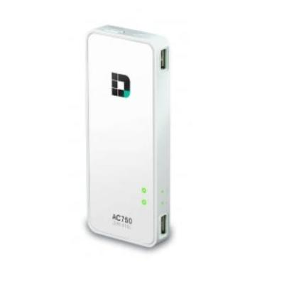 D-Link wireless router: Wi-Fi AC750 Portable Router & Charger, Dual-Band, USB 2.0 - Wit