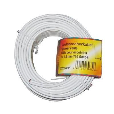 Hama Loudspeaker Cable 2 x 1.5 mm², 10 m - Wit
