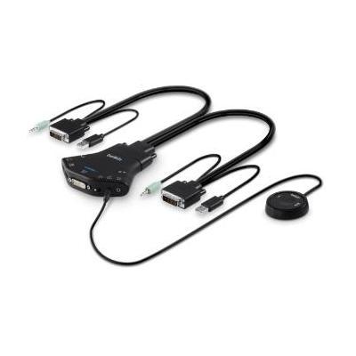 Belkin Secure Flip 2-Port DVI-D KVM with audio and remote controller KVM switch - Zwart